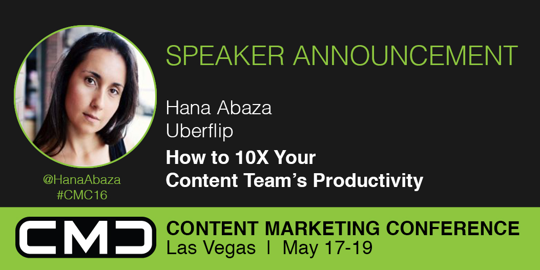 #CMC16  Speaker Spotlight: Hana Abaza, Uberflip