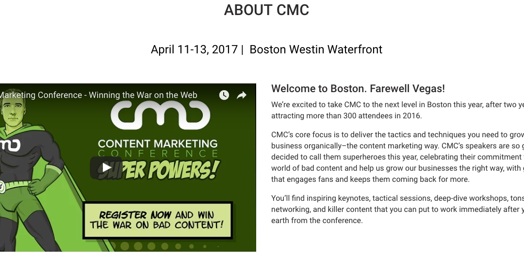 Run Don't Walk to Book for #CMC17 in Boston
